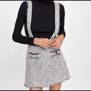 NWT Zara Tweed Mini Skirt with Suspenders